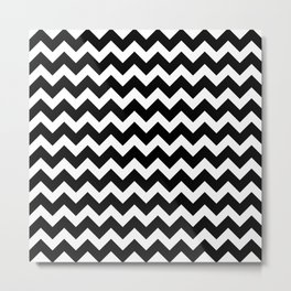 Black Chevron - Baby Stimulation Pattern Metal Print