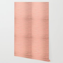 Abstract Stripes Gold Coral Pink Wallpaper