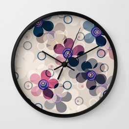 Retro, rustic, flowers, floral pattern, beige background Wall Clock