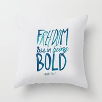 freedom Throw Pillows featuring Freedom  by Leah Flores
