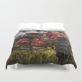 Abandoned Old Farmall Tractor in a Grassy Field on a Farm Duvet Cover