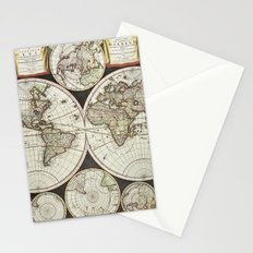 Vintage map of the World 1696 Stationery Cards