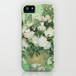 Vase With Pink Roses by Vincent Van Gogh iPhone Case