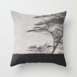 Grey Tree Branch Shadows and Texture Throw Pillow