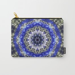 Happy Blues - blue and white kaleidoscope from lighted trees 1430 Carry-All Pouch