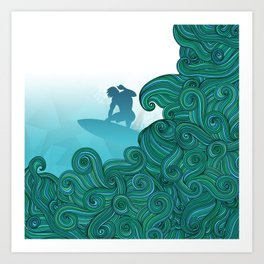 Surfer dude hangin ten and catching a wave Art Print