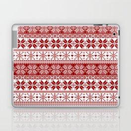 Red Winter Fair Isle Pattern Laptop & iPad Skin