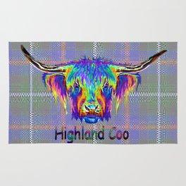 Vibrant Highland Cow on tartan digital art. Rug