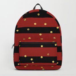 Christmas Golden confetti on Black and Red Stripes Backpack