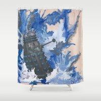 dalek Shower Curtains featuring Dalek splash down by Colunga-Art