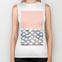 Nature background with Mountain landscape. Gray, pink, blue navy mountain with snow-capped peaks. Biker Tank