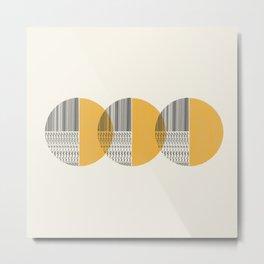 Minimalist circles with yellow Metal Print