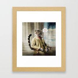 Sir Sebastian Snow Leopard Framed Art Print