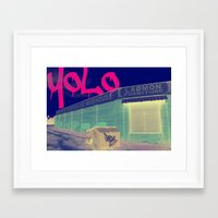 yolo Framed Art Prints featuring YOLO by Devin Stout