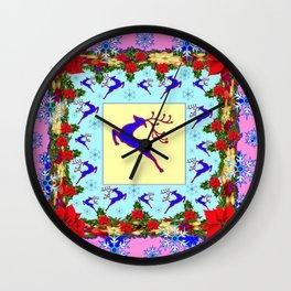 PINK ART LEAPING DEER POINSETTIAS & SNOWFLAKES CHRISTMAS Wall Clock