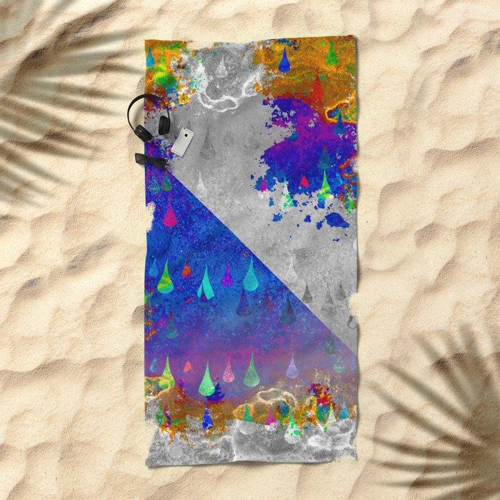 Abstract Colorful Rain Drops Design Beach Towel