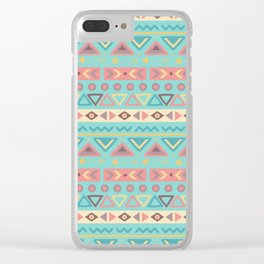 Hand painted teal coral ivory geometrical tribal pattern Clear iPhone Case
