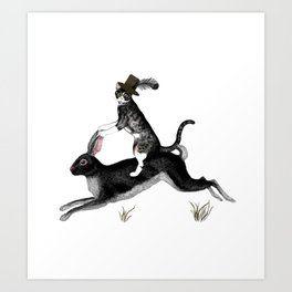 Cat And Rabbit Going For A Ride Art Print