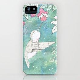 Hummingbird's Garden: In the fuschias iPhone Case