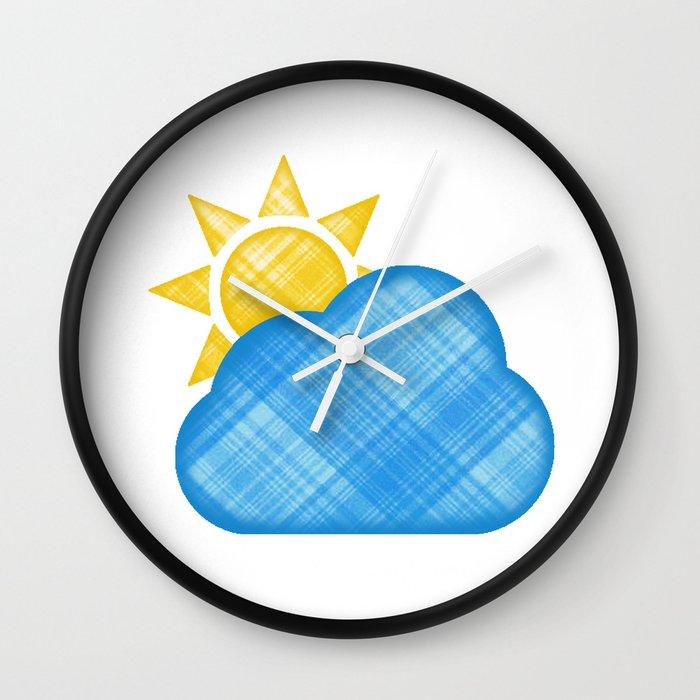 Cloud with sun emoji in plaid Wall Clock