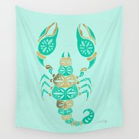venom Wall Tapestries featuring Scorpion – Turquoise & Gold by Cat Coquillette