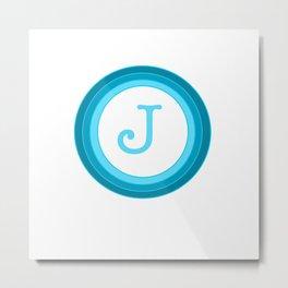 Blue letter J Metal Print