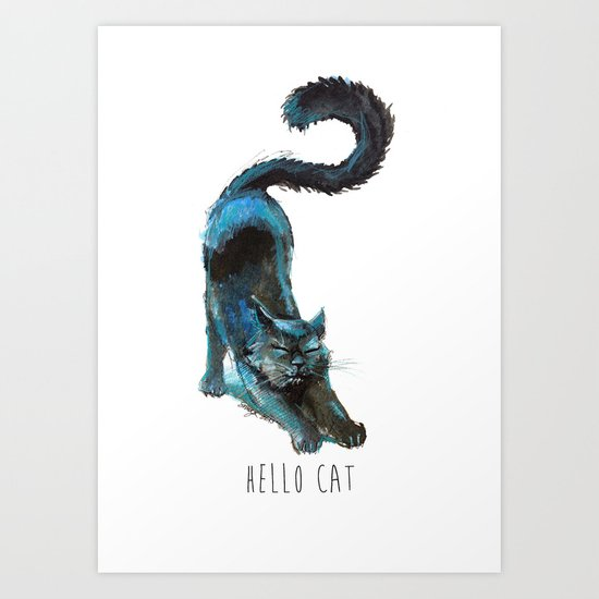 Black Blue Cat Stretching Drawing  Art Print