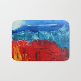 Red Flowers Blue Mountains Abstract Landscape Bath Mat