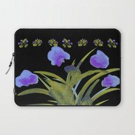 Atom Flowers #34 in purple and green Laptop Sleeve