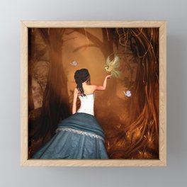 Wonderful fairy with fantasy bird Framed Mini Art Print