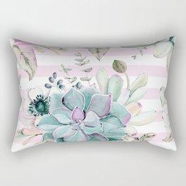 Simply Succulent Garden on Desert Rose Pink Striped Rectangular Pillow