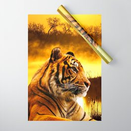Tiger and Sunset Wrapping Paper