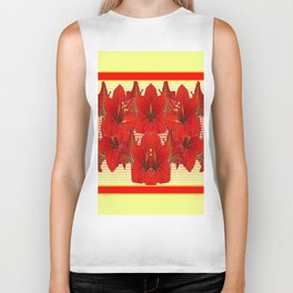 YELLOW CONTEMPORARY CLUSTER RED AMARYLLIS FLOWERS Biker Tank