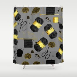 Gold and Black yarn Shower Curtain