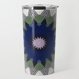 Patchwork Whimsy -- Vintage Block Quilt Mandala Kaleid0scope Travel Mug