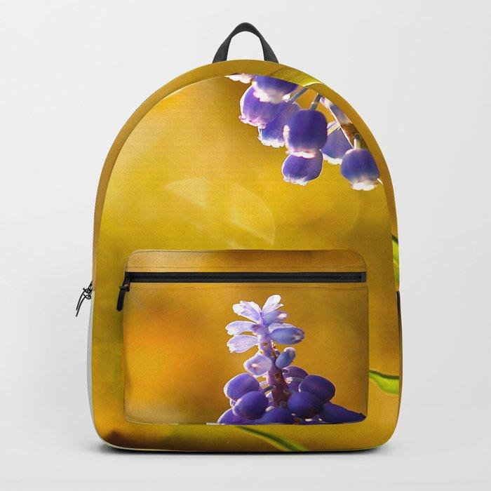 Beautiful Spring Muscari Bokeh background #decor #society6 #buyart  Backpack