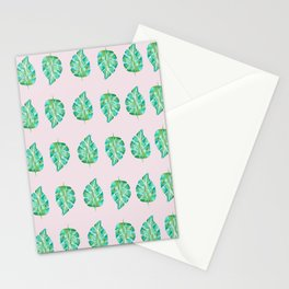 Pinky Green Monstera Stationery Cards