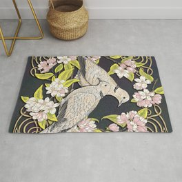 Celtic Collared Doves in Blossom Rug