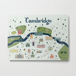 Cambridge Map Metal Print