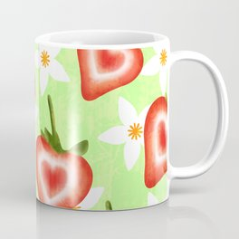 Sweet cute ripe red sliced summer strawberries and white pretty strawberry blossoms fruity floral distressed bright pale pastel lime green pattern design. Coffee Mug