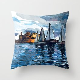 Yacht Sailing Middle Sea Race in Malta Grand Harbour - start of the regatta Throw Pillow