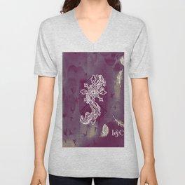 Gothic Cross: purple Unisex V-Neck