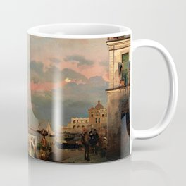 View of Ischia and Maronti Beach with Aragonese Castle by Oswald Achenbach Italian Landscape Coffee Mug