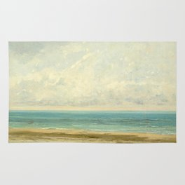 Calm Sea Oil Painting by Gustave Courbet Rug