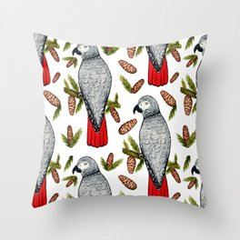 African Grey on a Fir Branch in Watercolor Throw Pillow