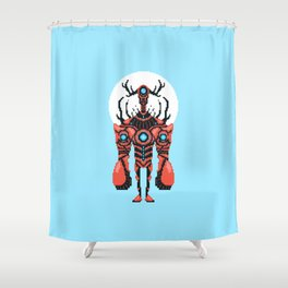 Pixel Lobster Droid Shower Curtain