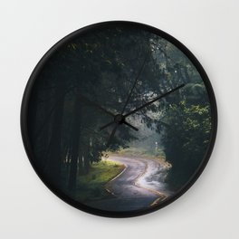 GREY - CONCRETE - ROAD - DAYLIGHT - JUNGLE - NATURE - PHOTOGRAPHY Wall Clock