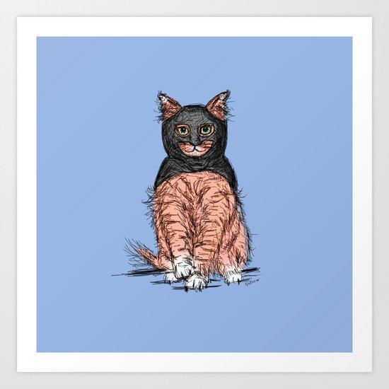 Periwinkle Pink Bat Cat Art Print
