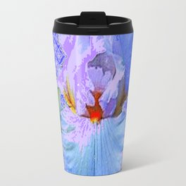 BLUISH-WHITE PASTEL IRIS FLOWERS OPTICAL ART PATTERNS Travel Mug