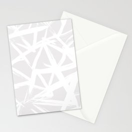 Modern white abstract geometric brushstrokes light grey Stationery Cards